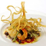 帆立と海老のサラダ仕立てカシス風味